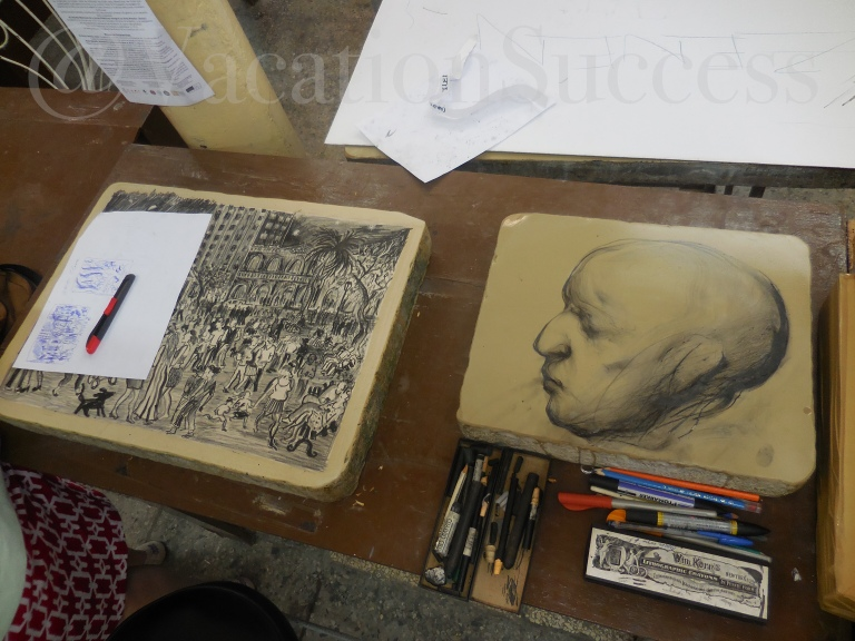 Lithograph in progress at the Taller Experimental De Grafica in Old Havana